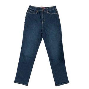 Gloria Vanderbilt dark blue wash high rise jeans 8